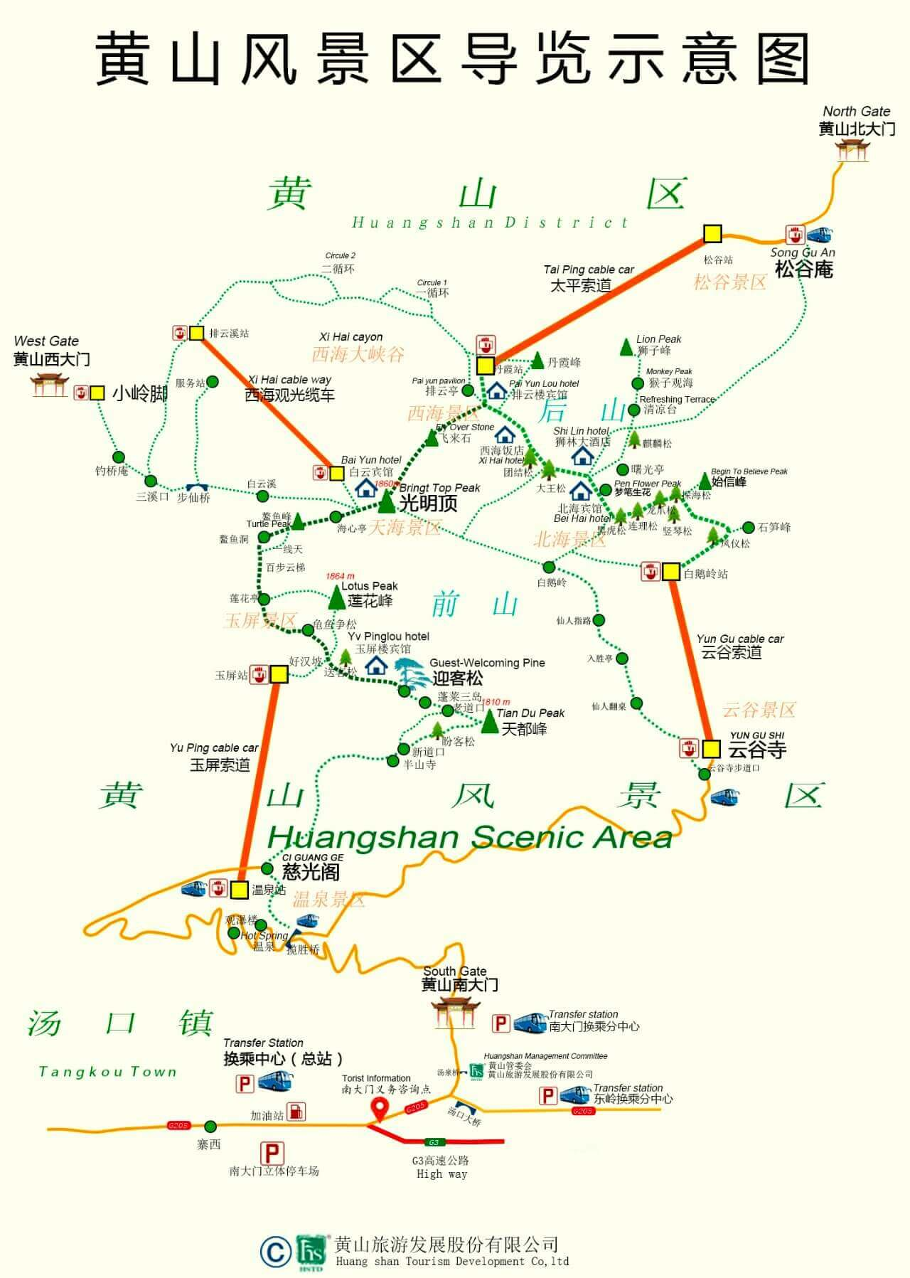 huangshan map yellow mountain china