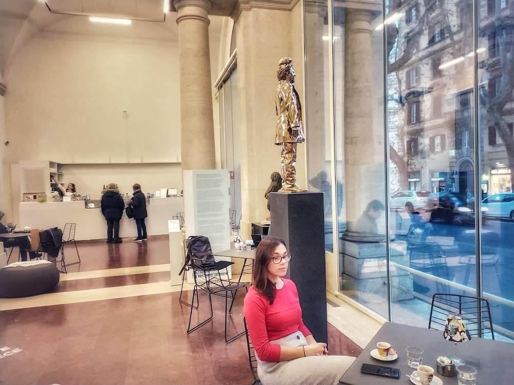 coffee shop inside art gallery rome